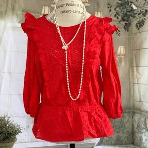Red Peplum Blouse Top Small Laser Cut Style